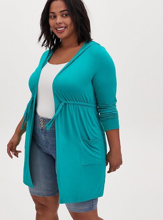 Super Soft Turquoise Drawstring Hooded Anorak , , hi-res