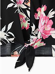 Plus Size Black Floral Challis Tie Front Midi Dolman Blouse, FLORAL - BLACK, alternate