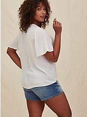 White Crinkled Gauze & Coral Embroidery Top, CLOUD DANCER, alternate