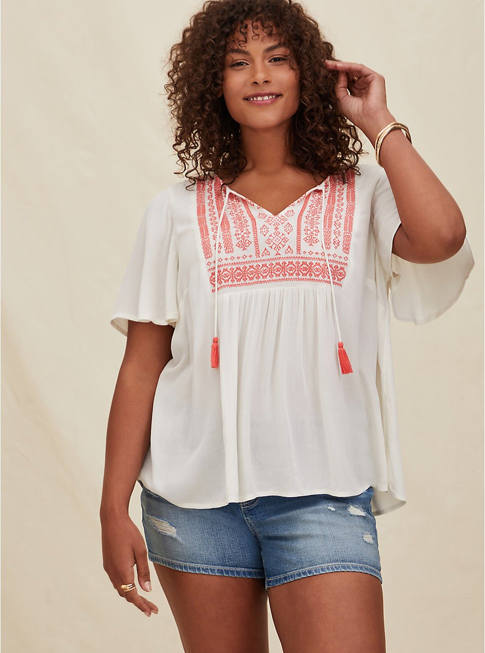White Crinkled Gauze & Coral Embroidery Top, CLOUD DANCER, hi-res