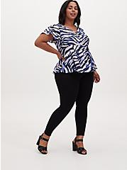 Navy Zebra Georgette Peplum Blouse , ZEBRA - BLUE, alternate