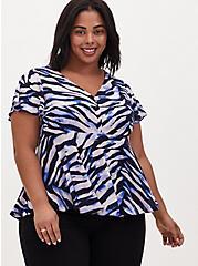 Navy Zebra Georgette Peplum Blouse , ZEBRA - BLUE, hi-res
