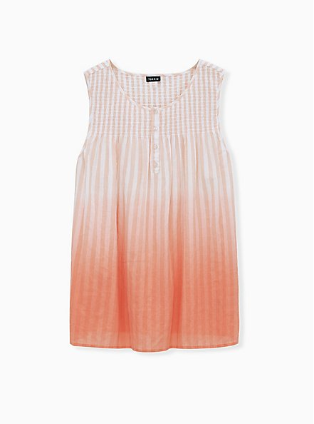Coral Stripe & Ombre Smocked Henley Tank, PINK GLO, hi-res