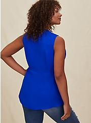 Electric Blue Georgette Peplum Tie Front Sleeveless Blouse, ELECTRIC BLUE, alternate