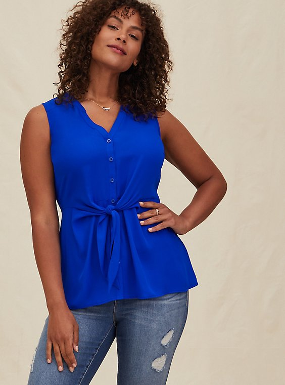 Electric Blue Georgette Peplum Tie Tront Sleeveless Blouse, , hi-res