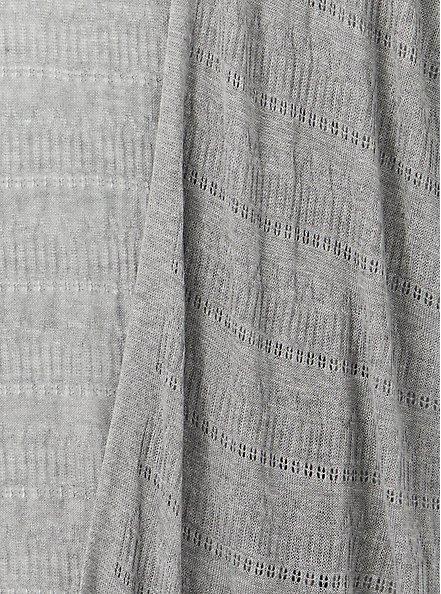 Heather Grey Pointelle Open Front Kimono, HEATHER GREY, alternate