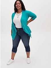 Super Soft Turquoise Drape Front Cardigan, DYNASTY GREEN, alternate