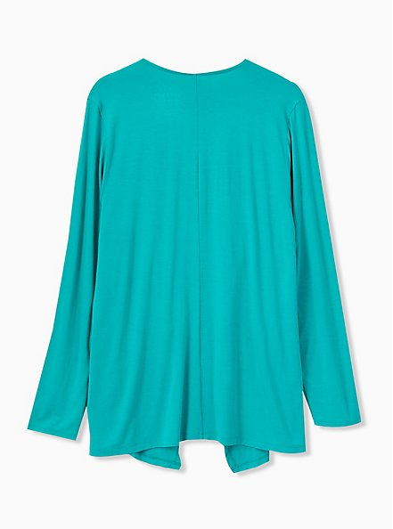 Super Soft Turquoise Drape Front Cardigan, DYNASTY GREEN, alternate