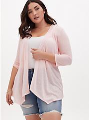 Peach Pink Slub Hacci Lace Inset Handkerchief Cardigan, GOSSAMER PINK, hi-res