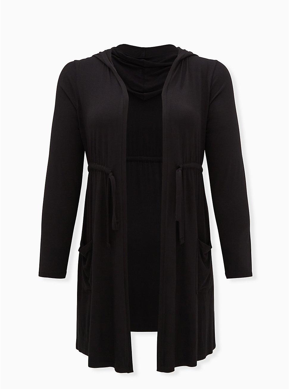 Super Soft Black Drawstring Hooded Anorak, DEEP BLACK, hi-res
