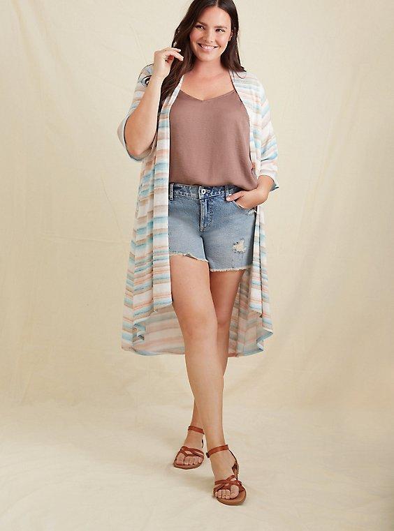 Multi Stripe Hacci Hi-Lo Kimono, , hi-res