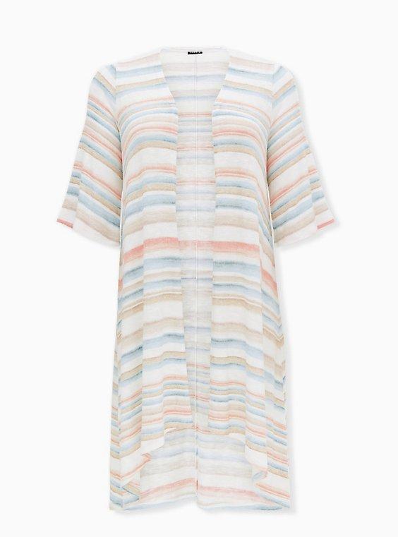Multi Stripe Hacci Hi-Lo Kimono, STRIPE - MULTI, ls