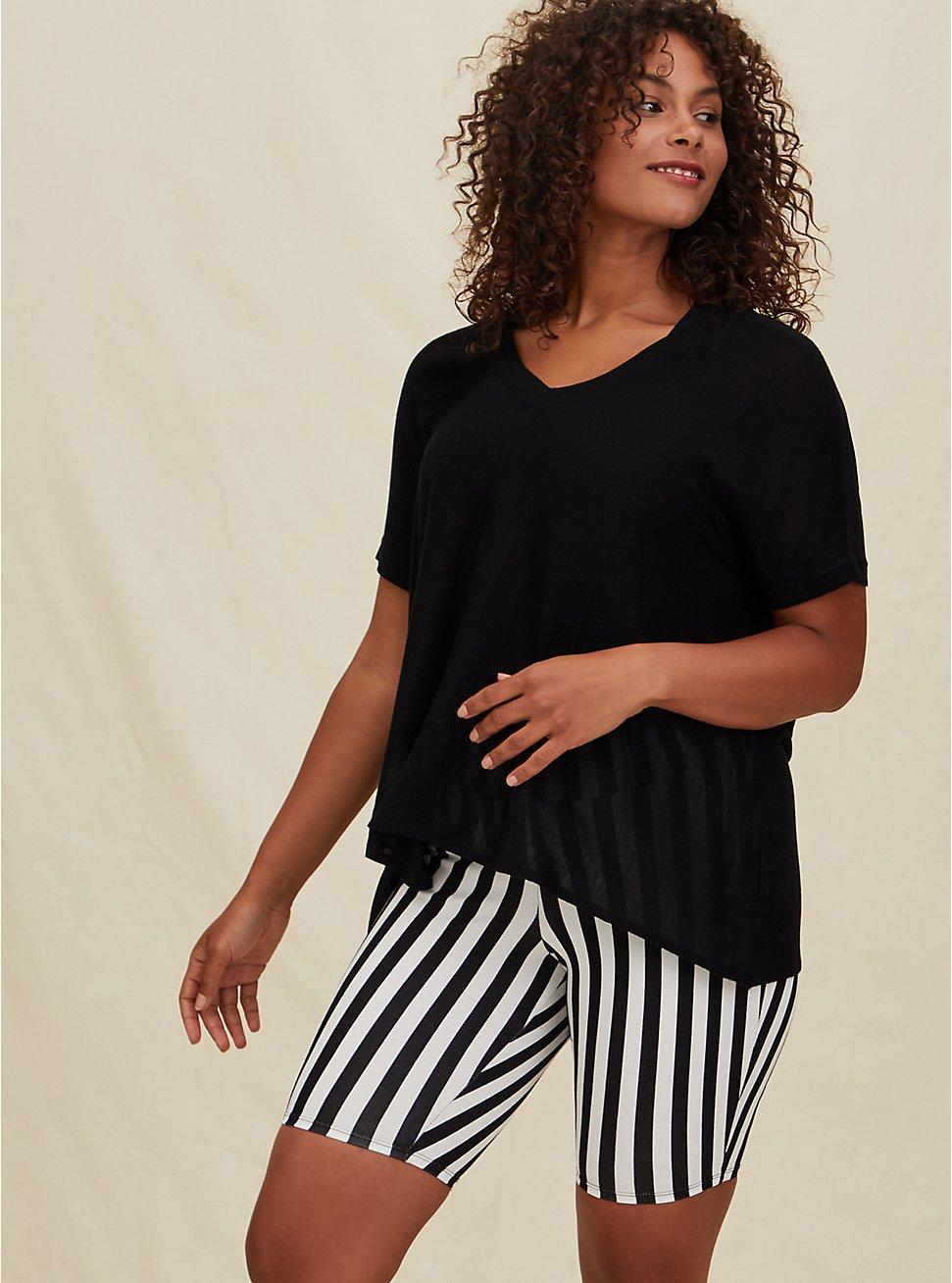 Black Sweater Knit Dolman Pullover Top, DEEP BLACK, hi-res