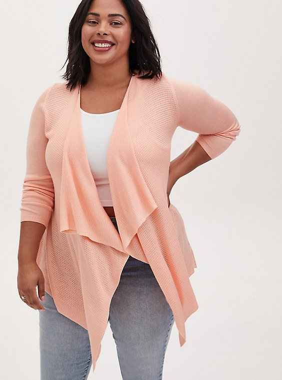 Peach Mixed Stitch Drape Front Cardigan, , hi-res