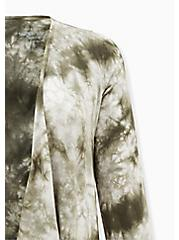 Super Soft Olive Green Tie-Dye Drape Front Cardigan, DEEP DEPTHS, alternate