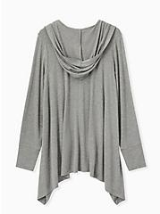 Super Soft Heather Grey Drape Front Hi-Lo Hooded Cardigan, HEATHER GREY, alternate