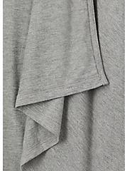 Super Soft Heather Grey Drape Front Hi-Lo Hooded Cardigan, HEATHER GREY, alternate