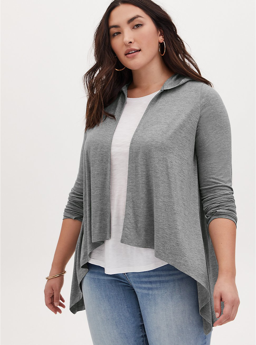 Super Soft Heather Grey Drape Front Hi-Lo Hooded Cardigan, HEATHER GREY, hi-res
