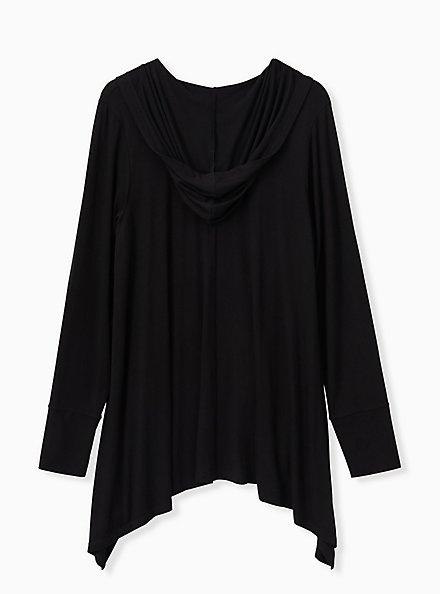 Super Soft Black Drape Front Hi-Lo Hooded Cardigan, DEEP BLACK, alternate