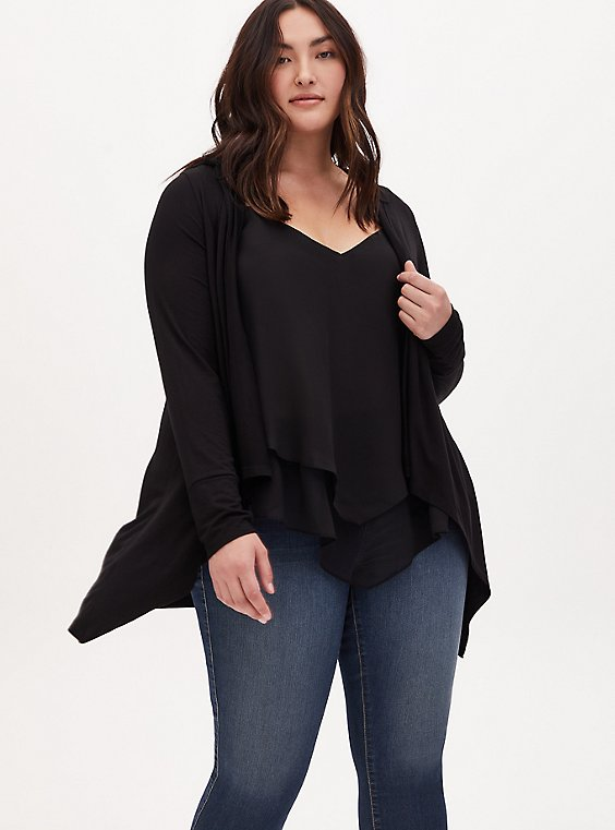 Super Soft Black Drape Front Hi-Lo Hooded Cardigan, , hi-res