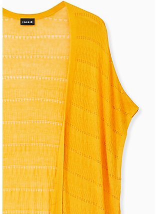 Golden Yellow Pointelle Open Front Kimono, GOLDEN GLOW, alternate
