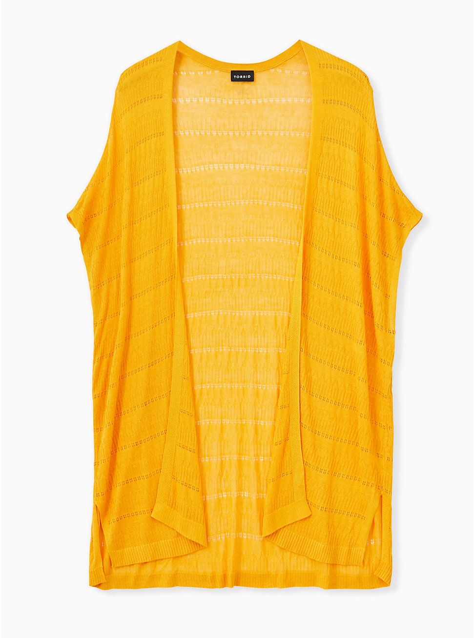 Golden Yellow Pointelle Open Front Kimono, GOLDEN GLOW, hi-res