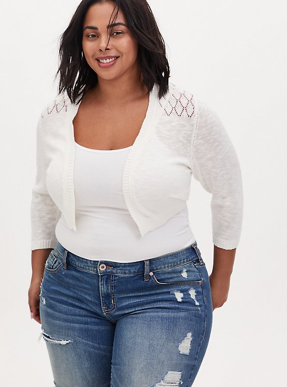 White Pointelle Open Front Shrug, , hi-res