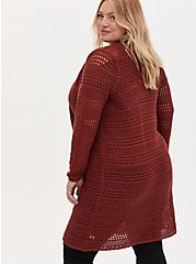 Plus Size Brick Red Pointelle Open Front Longline Cardigan, , alternate
