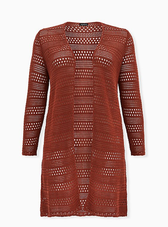 Brick Red Pointelle Open Front Longline Cardigan, , flat