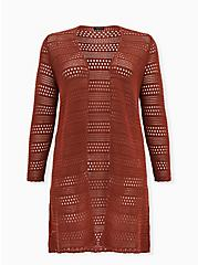 Plus Size Brick Red Pointelle Open Front Longline Cardigan, , hi-res