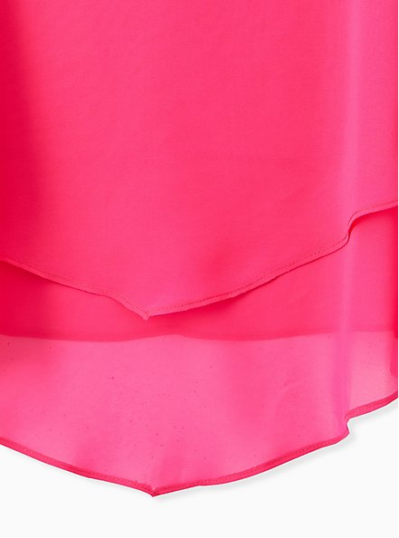 Neon Pink ChiffonDouble Layer Handkerchief Swing Cami, PINK GLO, alternate