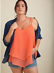 Plus Size Coral Chiffon Double Layer Handkerchief Swing Cami , LIVING CORAL, hi-res