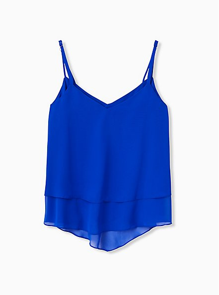 Electric Blue Chiffon Double Layer Handkerchief Swing Cami , ELECTRIC BLUE, alternate