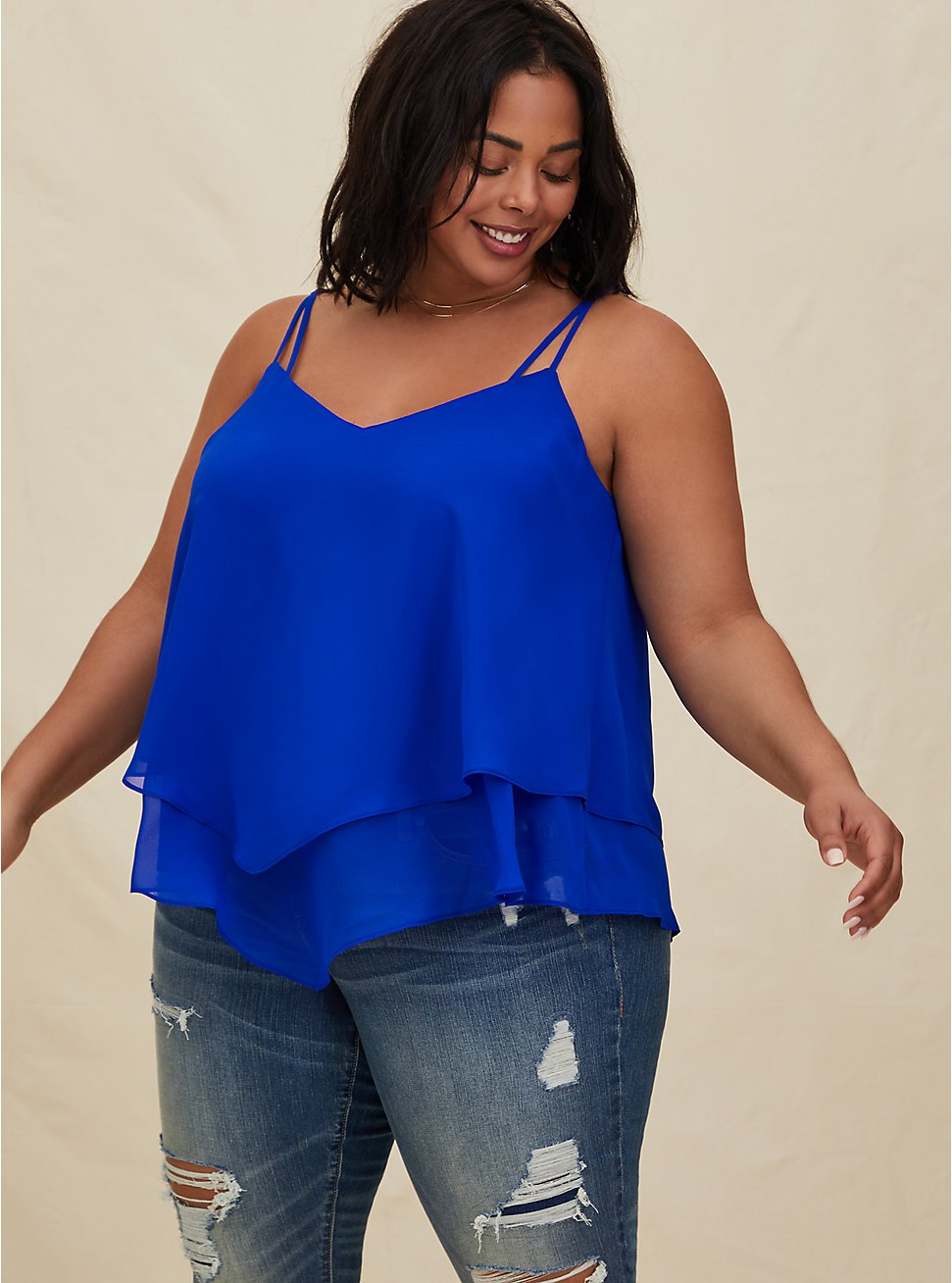 Electric Blue Chiffon Double Layer Handkerchief Swing Cami , ELECTRIC BLUE, hi-res