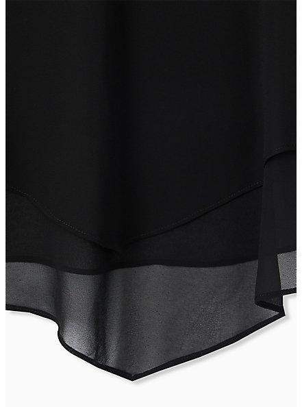 Black Chiffon Double Layer Handkerchief Swing Cami , DEEP BLACK, alternate