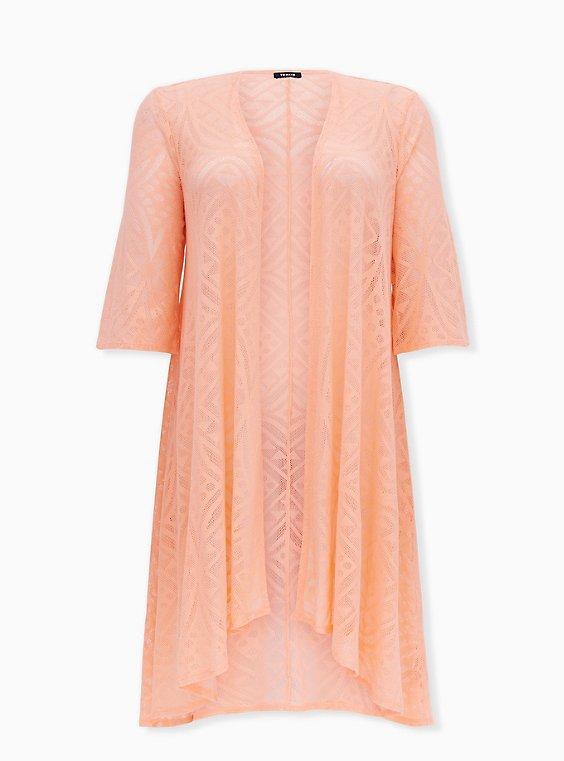 Peach Geo Mesh Hi-Lo Kimono, GEO - PINK, ls