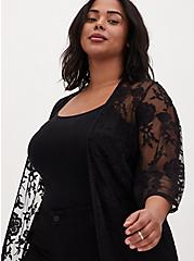 Black Sheer Mesh & Floral Embroidery Duster Kimono, DEEP BLACK, alternate