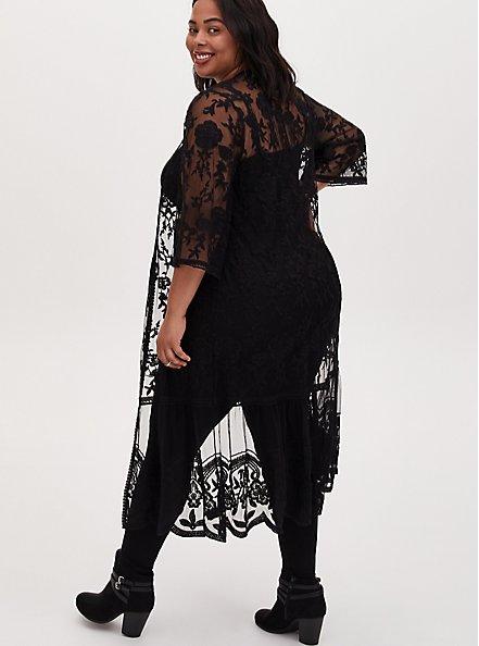 Black Sheer Mesh & Floral Embroidery Duster Kimono, DEEP BLACK, alternate