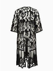 Black Sheer Mesh & Floral Embroidery Duster Kimono, DEEP BLACK, hi-res