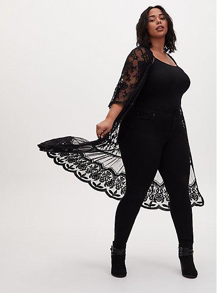 Black Sheer Mesh & Floral Embroidery Duster Kimono, DEEP BLACK, hi-res