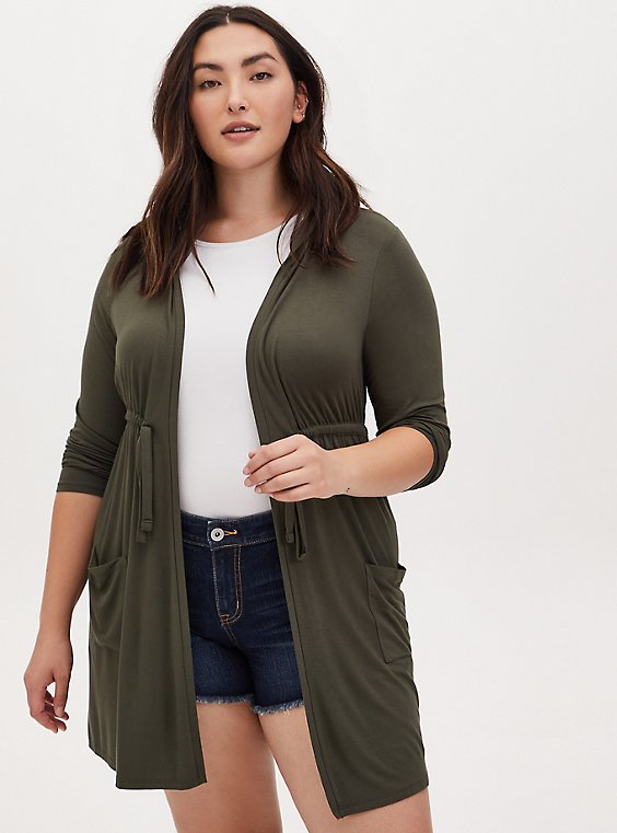 Plus Size Super Soft Olive Green Drawstring Hooded Anorak, , hi-res