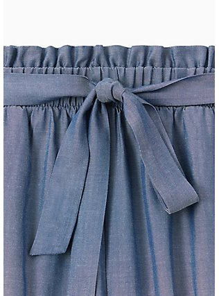 Self Tie Paperbag Waist Mid Short - Chambray Blue, CHAMBRAY, alternate