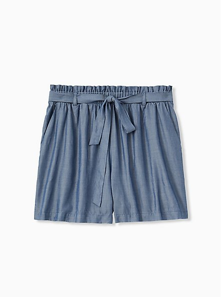 Self Tie Paperbag Waist Mid Short - Chambray Blue, CHAMBRAY, hi-res