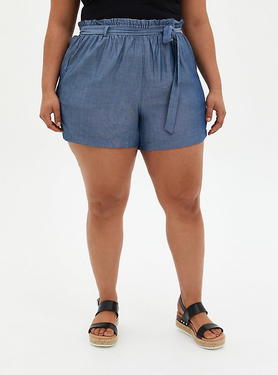 Self Tie Paperbag Waist Mid Short - Chambray Blue, , hi-res