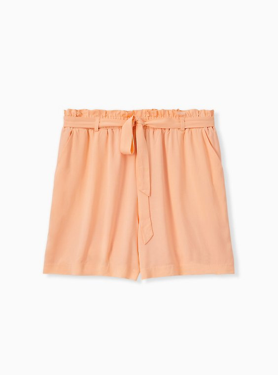 Self Tie Paperbag Waist Mid Short - Challis Peach, , hi-res
