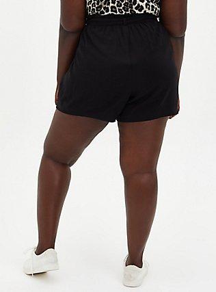 Self Tie Paperbag Waist Mid Short - Challis Black, DEEP BLACK, alternate