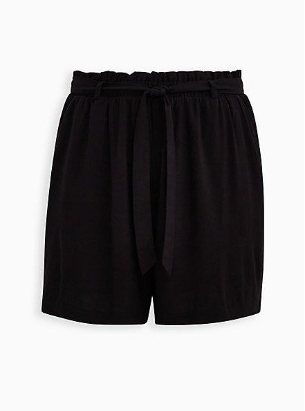 Self Tie Paperbag Waist Mid Short - Challis Black, DEEP BLACK, hi-res