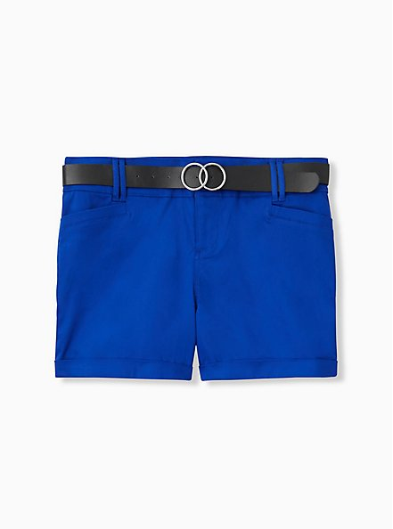 Belted Mid Short - Sateen Electric Blue, ELECTRIC BLUE, hi-res