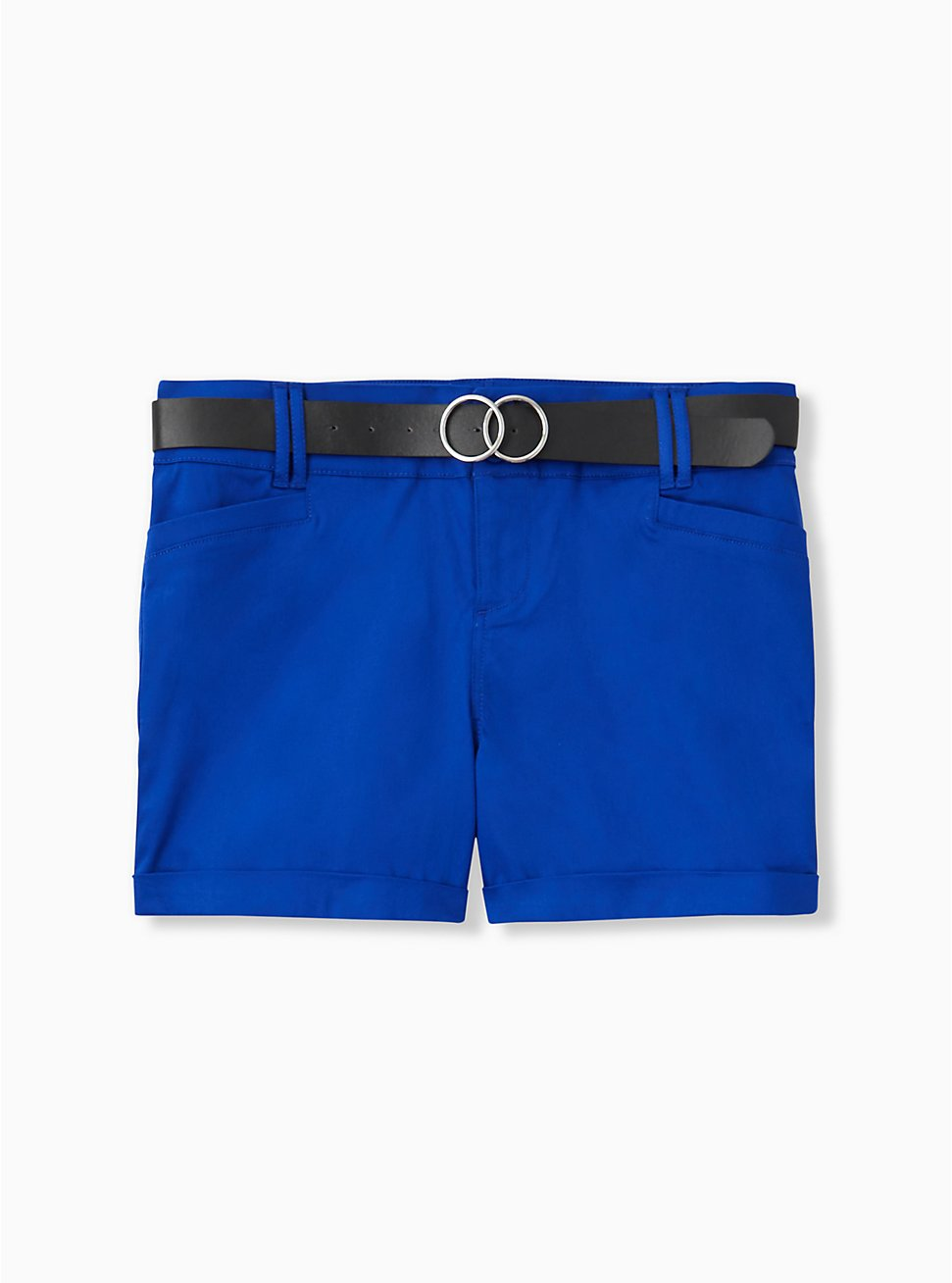 Plus Size Belted Mid Short - Sateen Electric Blue, ELECTRIC BLUE, hi-res