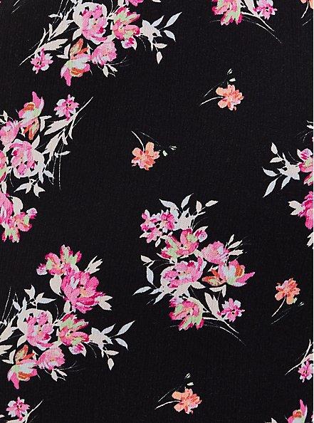 Black Floral Crinkle Gauze Wide Leg Pant, FLORAL, alternate